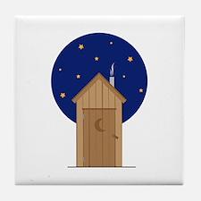Nighttime Outhouse Tile Coaster