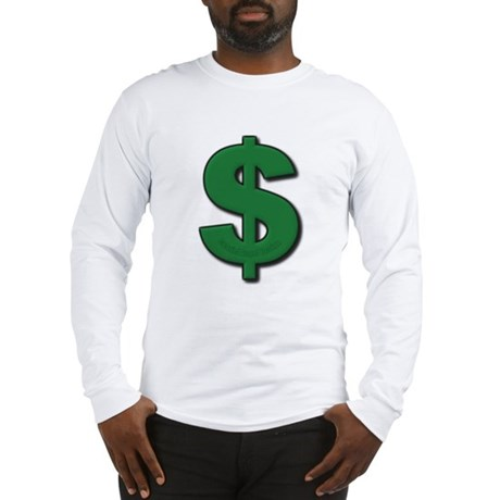 Green Dollar Sign Long Sleeve T-Shirt