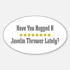Hugged Javelin Thrower Oval Decal
