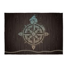 Nautical Compass 5'x7'Area Rug