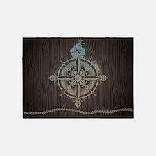 Nautical Compass 5'x7'Area Rug