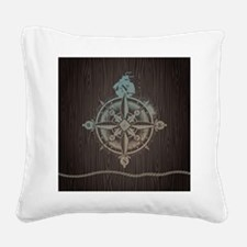 Nautical Compass Square Canvas Pillow