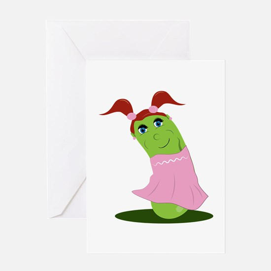 Girl Cucumber Greeting Cards