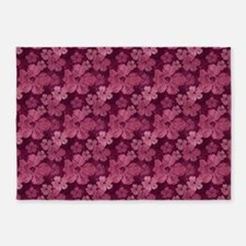 Hibiscus Pink Flowers Batik 5'x7'area Rug