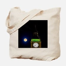 London. Big Ben Clock and the Moon. Time  Tote Bag