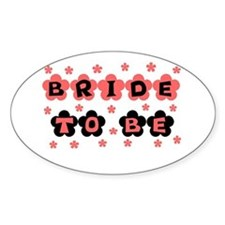 Coral Bride to Be Oval Decal
