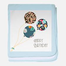 Happy Birthday Balloons baby blanket