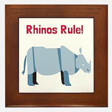 Rhinos Rule Framed Tile