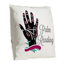 Palm Reading Burlap Throw Pillow