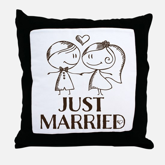 Just Married line drawing couple Throw Pillow