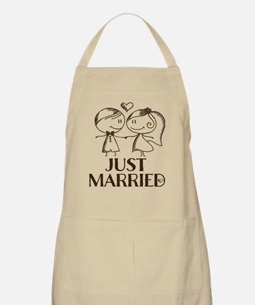 Just Married line drawing couple Apron