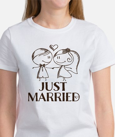 Just Married line drawing couple T-Shirt