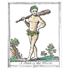 Wild Man or Man of the Woods or Woodwose , woodcut Framed Print