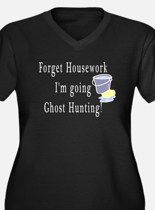 Forget Housework Women's Plus Size V-Neck Dark T-S