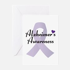 Alzheimers Awareness Ribbon Greeting Cards