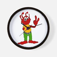 Red Alien Wall Clock