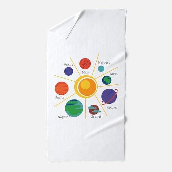 Planet Names Beach Towel