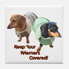 Wieners Covered Dachshunds Tile Coaster