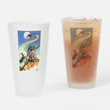 Cute Witch%27s broom moon Drinking Glass
