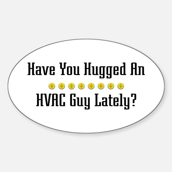 Hugged HVAC Guy Oval Decal