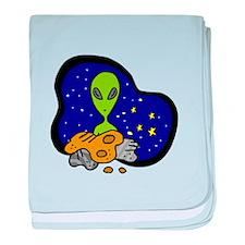 Alien behind Rocks baby blanket