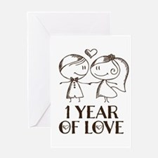 1st Anniversary couple line drawing Greeting Cards
