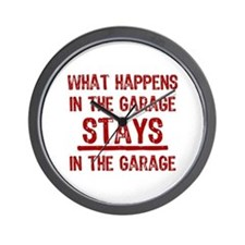 Stays In The Garage Wall Clock