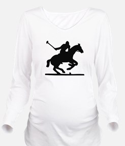 Unique Polo black Long Sleeve Maternity T-Shirt