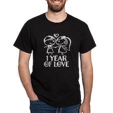 1st Anniversary chalk couple T-Shirt