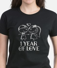 1st Anniversary chalk couple T-Shirt