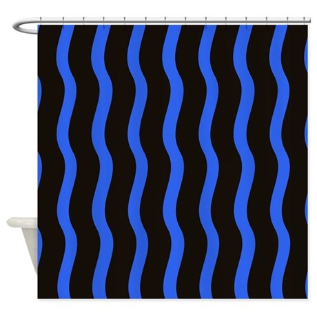 Black And Blue Waves Shower Curtain By Stripstrapstriped