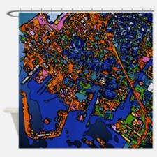 Funky Maps, NEW YORK Shower Curtain