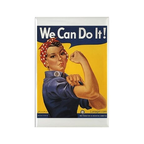 We Can Woman Retro Vintage Po Rectangle Magnet