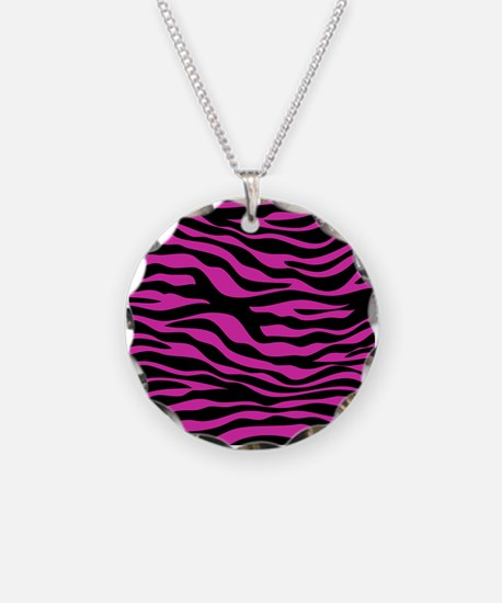 Black and Pink Zebra Print Necklace