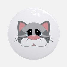 Cute Gray Cat Face Ornament (Round)