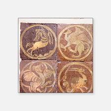 """Chertsey Abbey tile. Zodiac Square Sticker 3"""" x 3"""""""