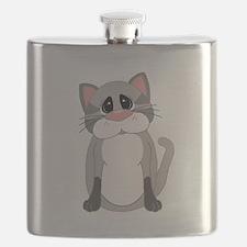 Cute Gray Cat Flask