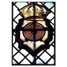 Stained glass window showing Rose of Lancaster Igh Poster