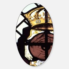 Stained glass window showing Rose o Sticker (Oval)