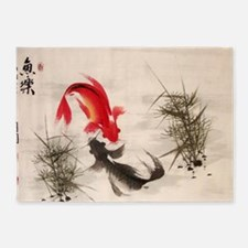 Koi fish 5'x7'Area Rug
