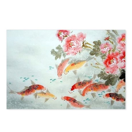 Koi fish postcards package of 8 by listing store 124368888 for Koi fish store