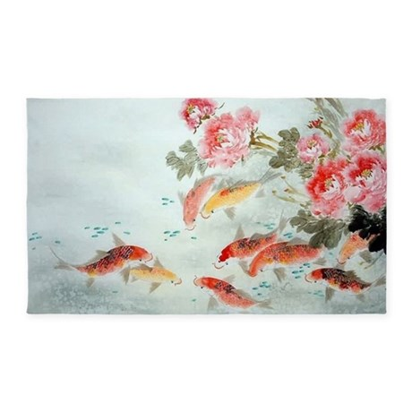 Koi fish 3 39 x5 39 area rug by listing store 124368888 for Fish area rug