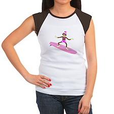 Sock Monkey Surfer Girl Women's Cap Sleeve T-Shirt
