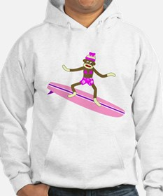 Sock Monkey Surfer Girl Hoodie