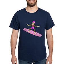 Sock Monkey Surfer Girl T-Shirt