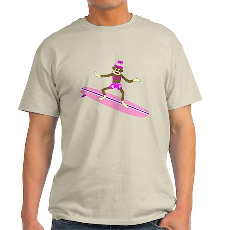 Sock Monkey Surfer Girl Light T-Shirt