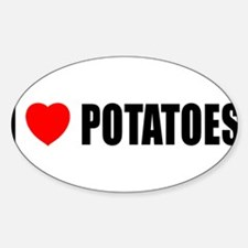 I Love Potatoes Oval Decal