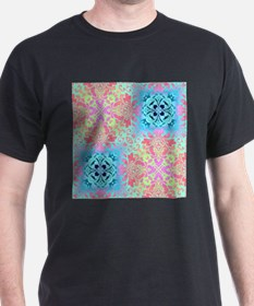 colorful blue pastel colors abstract pattern T-Shi