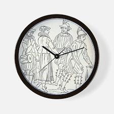 Morris Dancers from 16th Century, engra Wall Clock