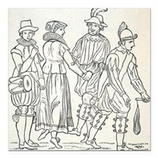 """Morris Dancers from 16th Square Car Magnet 3"""" x 3"""""""